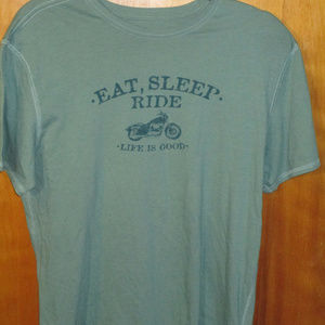 Life Is Good Eat Sleep Ride Green Shirt M